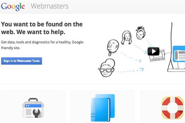 google webmasters tools homepage webapp layout